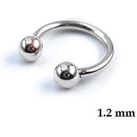 1,2mm Curved Barbell–17dimensioni, ad esempio per sopracciglia