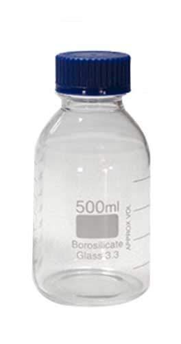 Bottiglia Di Vetro Misuratore Multiuso Con Tappo Azzurro - Graduata Fino A 500ml