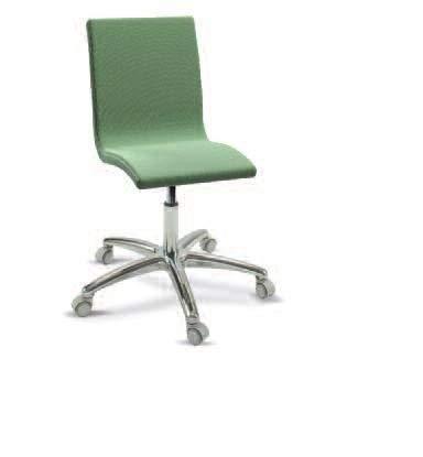 Dafnedesign.com - 2 Stühle, drehbar, Metallgestell - Gas, Aluminium poliert, mit kratzfesten Rädern - gepolsterte Sitzfläche aus Stoff oder Kunstleder - Farbe grün 100% Made in Italy (SF21) - Kunstleder Gepolsterte Sitzfläche
