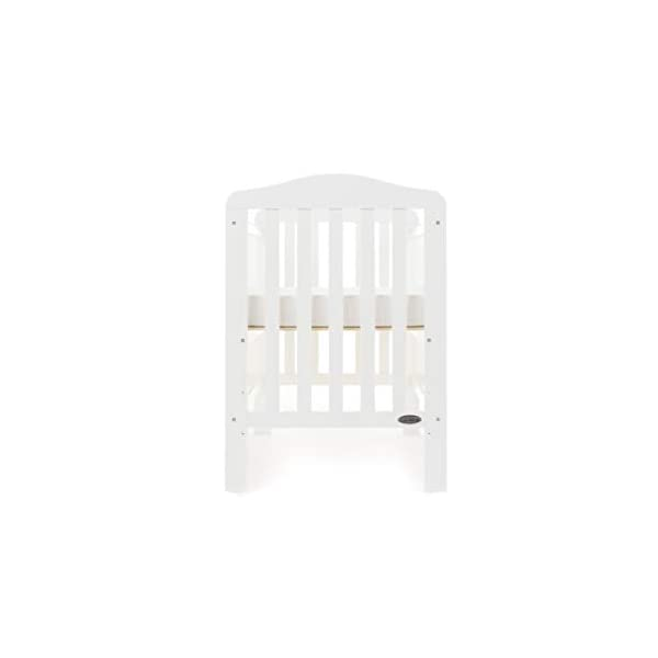 Obaby Ludlow Cot, White Obaby Adjustable 3 position mattress height Stylish open slatted ends and sides Protective teething rails along both side rails 4