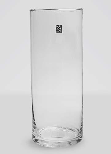 Maison Zoe Mundgeblasene und Handgefertigte Glasvase Zylinder Ø12cm - 30cm hoch - Blumenvase - Deko & Hochzeit
