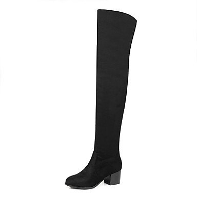 723efdbd39960 Rtry Femmes Chaussures Nubuck Cuir Automne Hiver Mode Bottes Bottes Chunky Talon  Bout Rond Cuisse-