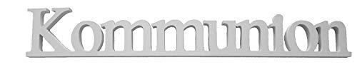 Miss Lovely Deko-Aufsteller Kommunion/Holz-Schrift-Zug weiß - Deko-Figur - Geschenk-Idee Geld Kommunion Junge-n & Mädchen Tisch-Dekoration