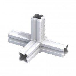 Connecteur de jonction - 90° à 4 embouts - Blanc pour tube alu et pvc