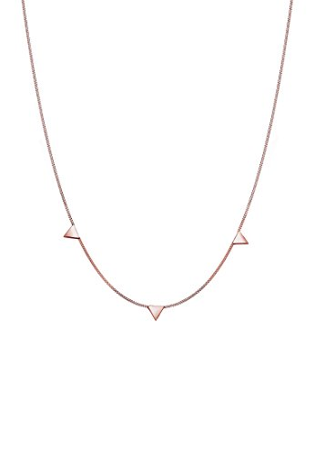 Elli Damen Echtschmuck Halskette Kette Dreieck Anhänger in 925 Sterling Silber Rosé vergoldet 40 cm länge
