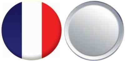 Miroir insigne de bouton France drapeau - 58mm