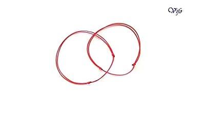 2 Bracelets Kabbale rouge, Bracelets minimalistes, Cordon 0,5 mm, nœuds coulissants, Bracelets Porte bonheur, Bijoux Homme Enfant Femme, Bracelets zen, réglable 14.50 cm - 20.00 cm