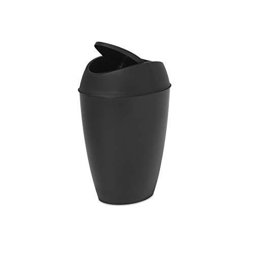 Umbra, Black Twirla, 2.2 Gallon Trash Can with Swing-top Lid