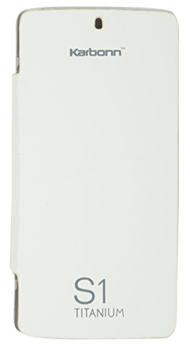 iCandy™ Synthetic Leather Flip Cover For Karbonn Titanium S1 - WHITE  available at amazon for Rs.149