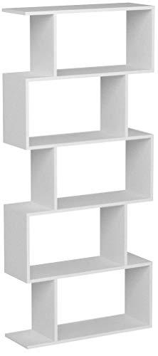 homfa scaffale libreria in legno libreria ripiani mobile decorativo per soggiorno o ufficio in legno bianco (159.5)
