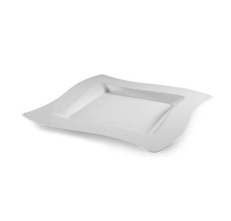 10Stück Elegantes Hard Kunststoff winkte Design Quadrat Dessert Teller-16,5cm (16,5cm)-Weiß - Hochzeit Kunststoff-platten