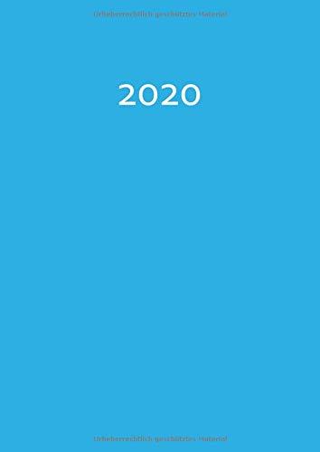 2020: dicker TageBuch Kalender - Karibikblau - 1 Tag pro DIN A4 Seite