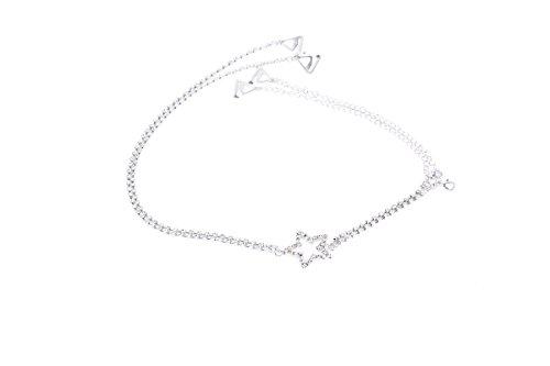Butterme Luxus Frauen Doppel-Reihen Diamante BH-Bügel zurück Bling Bling Stern Strass für Tops Party-Kleid (Luxus Bügel-bh)