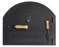 Puerta de hierro para hornos de leña con sistema anti-humos