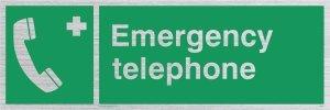 Viking Schilder sv411-l15-s Notfall Telefon Sign Starre, silber Kunststoff, 50mm H x 150mm W (Viking Notfall-telefon)