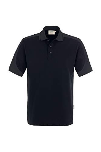 Hakro CONTRAST-POLOSHIRT PERFORMANCE # 839 UNISEX (6XL, schwarz/anthrazit) - Firma Logo-polo-shirts