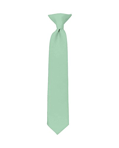 NYfashion101 Boys Solid Clip on Tie Charcoal Gray