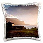 Golf Courses - Makai golf course in Princeville, Kauai, Hawaii, Micah Wright - 16x16 inch Pillow Case