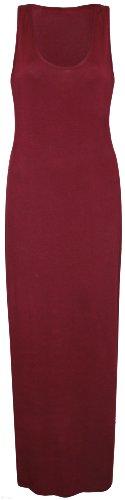 Purple Hanger - Robe Femme Maxi Longue Dos Nageur Sans Manche Encolure Ronde Extensible Uni Grande Taille Neuf Bordeaux