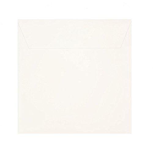 25 quadratische Briefumschläge Elfenbein Creme-Weiß 170 x 170 mm (17 x 17 cm) mit Haftstreifen120 g/qm