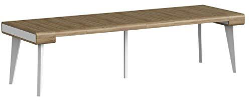 Home Innovation- Nordic Curve ausziehbarer Konsole, Esszimmertisch und Wohnzimmertisch , Skandinavischer Stil, bis 3 m, abgerundete Vorderseite, matt weiß / Eiche gebürstet. 14 Sitzplätze.