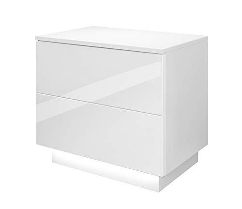Lukmöbel Nachttisch Hochglanz LED Beleuchtung Weiß Nachtkommode Schlafzimmer