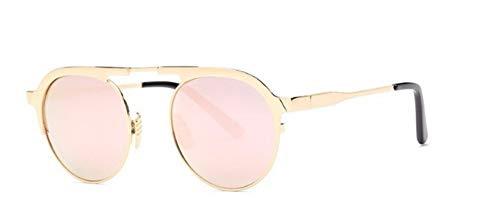 ZJMIYJ Sonnenbrillen Italien Designer Sonnenbrille Frauen Super Light Flex Metall Spiegel Oval Sonnenbrillen für Lady Pink
