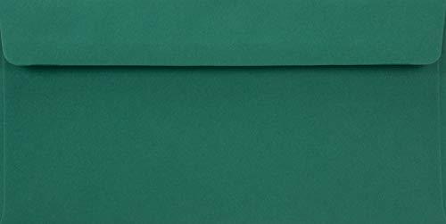 100 Dunkelgrün DIN Lang Briefumschläge, 110x220mm, 90g, Burano English Green, gerade Klappe, ohne Fenster, ideal für Geburtstag, Weihnachten, Hochzeit, Einladungen, Grußkarten, Firmenprospekte