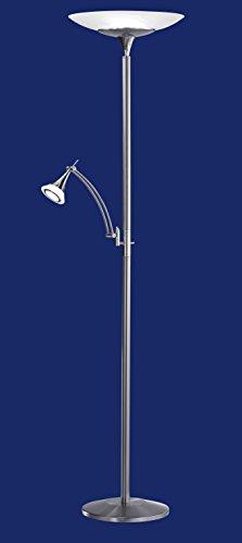 Deutsche LED Stehleuchte Nickel matt Tastdimmer 2 Flammig Ø 44cm 36W Deckenfluter