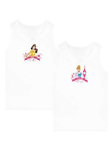 (Disney Mädchen Belle und Cinderella Unterhemden Packung mit 2 Weiß 104)