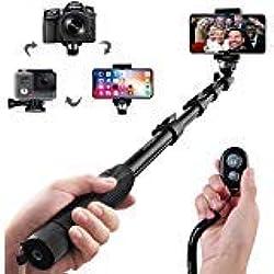 Arespark Durable Selfie bâton Selfie Monopode Professionnel pour iPhone, Smartphones Android, gopros, Appareil Photo Reflex numérique et Appareil Photo numérique, s'étend jusqu'à 127cm