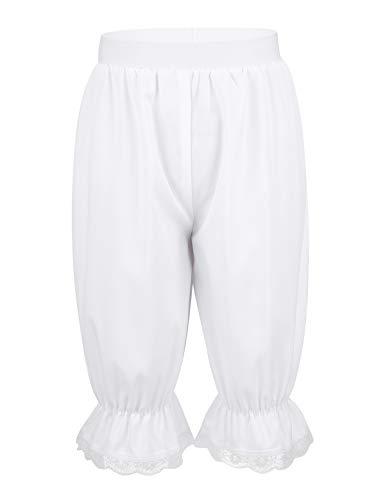 iixpin Mädchen Bloomers Hose viktorianische Rüschen Kürbis Pumphose Renaissance Zigeuner Hosen Shorts Cosplay Fasching Kostüm Weiß Weiß 110-116/5-6 Jahre