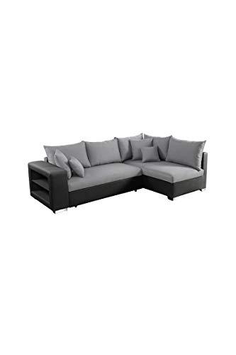 Valencia canapé d'angle Droit Convertible 5 Places - Tissu Gris et Simili Noir - Contemporain - l 255 x p 165 cm
