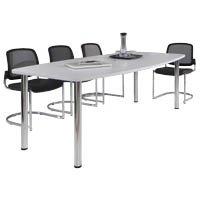 Konferenztisch - Gestellvariante Rundrohrbeine, für 8 Personen - lichtgrau - Besprechungstisch Besprechungstische Besuchertisch Besuchertische...