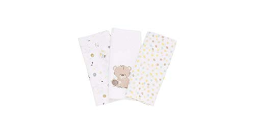 Mothercare Teddy's Toy Box Muslins, Multicolor (Pack of 3)