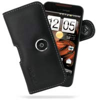 PDair Handarbeit Leder Horizontal Tasche Hülle with Belt Clip for HTC Droid Incredible ADR6300 (Black)