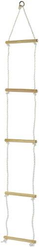 Playtastic Seilleiter für Kinder: Strickleiter mit 5 Holzsprossen für Kinder (Baumleiter für Kinder)