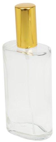 Fantasia Parfum Flakon leer 100ml mit Zerstäuberpumpe, ovale Klarglas Flasche zum selber Befüllen, mit Parfum Zerstäuber und Kappe in Gold, nachfüllbar für 100ml