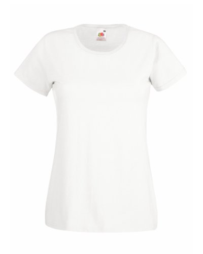 Fruit Of The Loom Lady-Fit Valueweight Damen T-Shirt (L) (Weiß) L,Weiß
