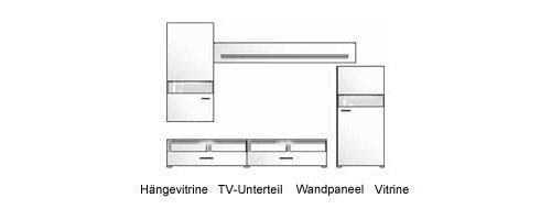 Wohnwand in weiß Hochglanz u. weiß gläzend mit 1 Hängevitrine, 1 TV-Unterschrank, 1 Wandboard u. 1 Vitrine, Gesamtmaße: B/H/T ca. 275/202/50 cm - 2