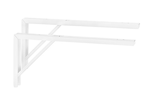 2 Stück - Regal-Konsole Metall weiß Regalträger Tischverlängerung Regalwinkel für die Tisch & Wandmontage | Stahl weiß beschichtet | 400 x 30 x 180 mm | Möbelbeschläge von GedoTec® -