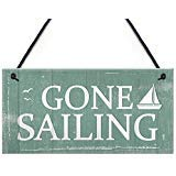 Rot Ocean Gone Sailing Plaque Maritimes Dekor Beach Seaside Shabby Chic Home Schild Geschenk