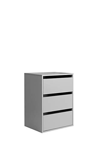 FORTE  Schubkastenblock mit 3 Schubkästen, Holz, grau, 51 x 39.60 x 70.60 cm