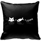 ArchieStottStore Cat and Fish Equals to Fishbone NO:789 Pillow Case Decor 18*18 Inch Cotton Blend Linen Fishbone Case Cover