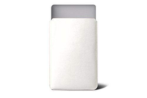 Lucrin - Housse pour MacBook Air 13 pouces - Cuir Lisse Blanc