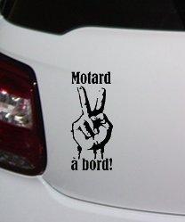 Sticker autocollant noir Motard à Bord salut motard