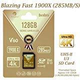 Amplim uhs-ii sd card: ultra veloce 285mb/s (1900x), v60, u3, scheda di memoria sdxc classe 10per 4k, full hd, 3d, hdr, 360video oro gold 128gb sd