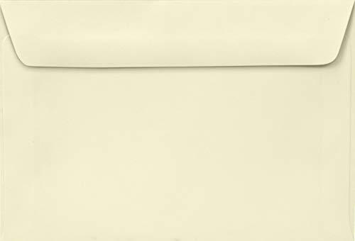 100 Elfenbein Briefumschläge, 105x155mm, 100g, Lessebo Smooth Ivory, gerade Klappe, Naßklebung, ohne Fenster, ideal für Einladungskarten, Geburtstagskarten, Grußkarten, Briefe