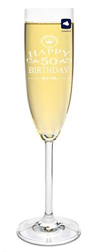foryou24 Leonardo Sektglas mit Gravur Happy Birthday 50 Jahre Sekt-Glas graviert Geburtstag Geschenkidee