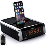 VELOUR iPhone Charging Docking Station Speaker Compatible with iPhone X/8/7/6/5 S Plus,Alarm Clock